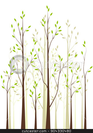 Trees 41 stock vector clipart, Trees with green leaves on white background by Miroslava Hlavacova