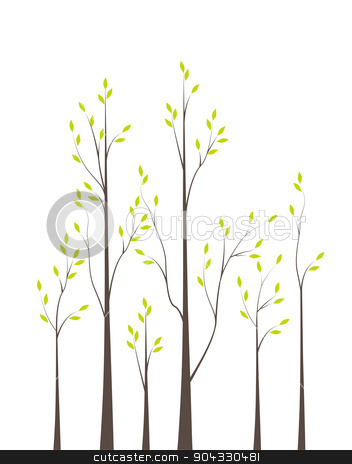 Trees 42 stock vector clipart, Trees with green leaves on white background by Miroslava Hlavacova