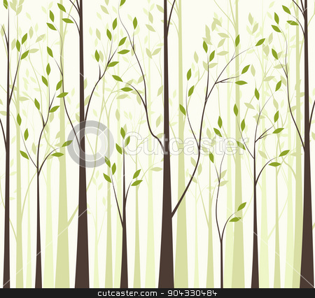 Trees 43 stock vector clipart, Trees with green leaves on white background by Miroslava Hlavacova