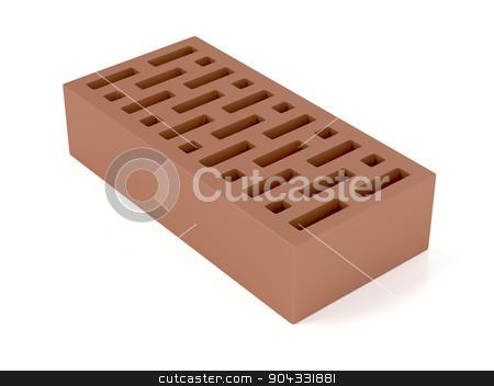 Clay brick stock photo, Clay brick on white background by Mile Atanasov
