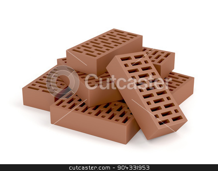 Clay bricks stock photo, Clay bricks on white background by Mile Atanasov