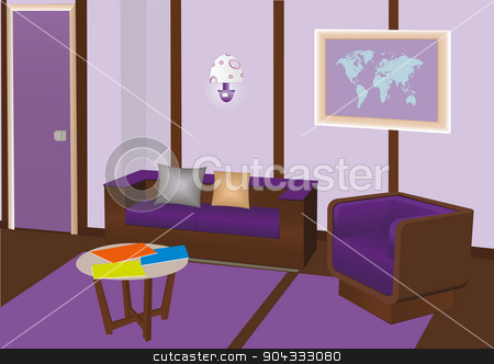 Vector modern interior room with violet furniture stock vector clipart, Vector sitting room in violet colours with sofa, chair, table, magazines, picture of trhe map at the wall and beautiful lamp. by Alla Puzanova