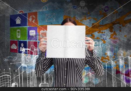 Composite image of businesswoman showing a white card in front o stock photo, Businesswoman showing a white card in front of her face against hand drawn city plan by Wavebreak Media
