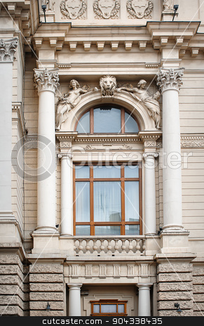 architectural window with columns and moldings barilefom stock photo, architectural window with columns and moldings barilefom. by timonko