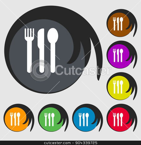 fork, knife, spoon icon sign. Symbol on eight colored buttons. Vector stock vector clipart, fork, knife, spoon icon sign. Symbol on eight colored buttons. Vector illustration by Serhii