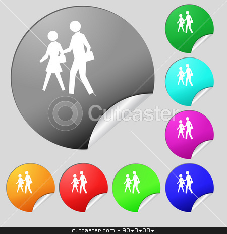 crosswalk icon sign. Set of eight multi colored round buttons, stickers. Vector stock vector clipart, crosswalk icon sign. Set of eight multi colored round buttons, stickers. Vector illustration by Serhii