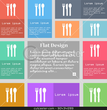 fork, knife, spoon icon sign. Set of multicolored buttons with space for text. Vector stock vector clipart, fork, knife, spoon icon sign. Set of multicolored buttons with space for text. Vector illustration by Serhii