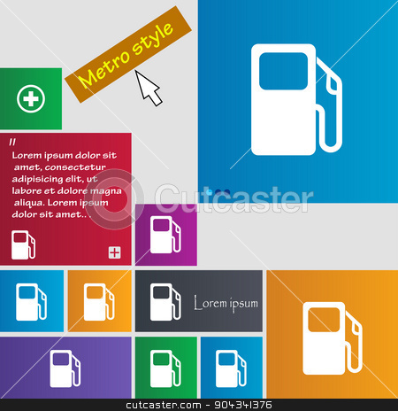 Auto gas station icon sign. buttons. Modern interface website buttons with cursor pointer. Vector stock vector clipart, Auto gas station icon sign. buttons. Modern interface website buttons with cursor pointer. Vector illustration by Serhii