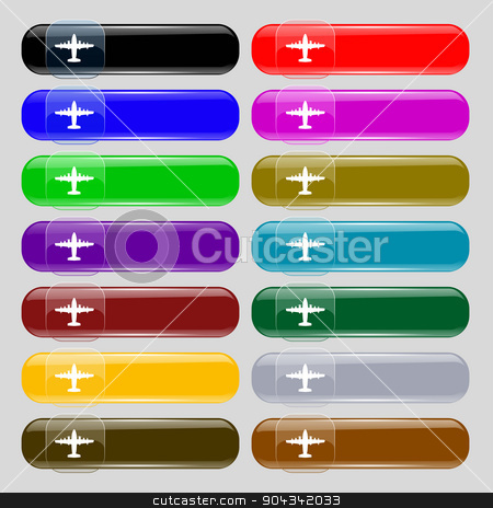 aircraft icon sign. Set from fourteen multi-colored glass buttons with place for text. Vector stock vector clipart, aircraft icon sign. Set from fourteen multi-colored glass buttons with place for text. Vector illustration by Serhii