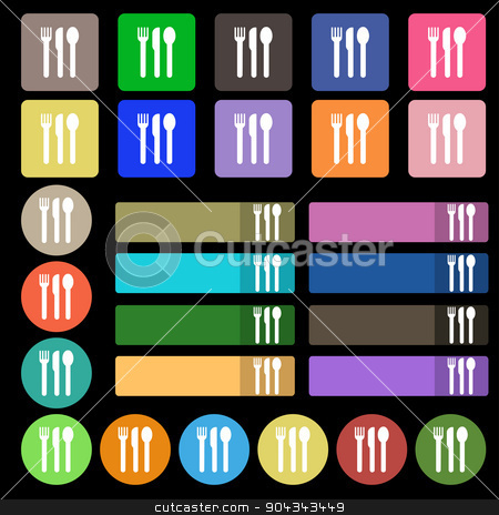 fork, knife, spoon icon sign. Set from twenty seven multicolored flat buttons. Vector stock vector clipart, fork, knife, spoon icon sign. Set from twenty seven multicolored flat buttons. Vector illustration by Serhii