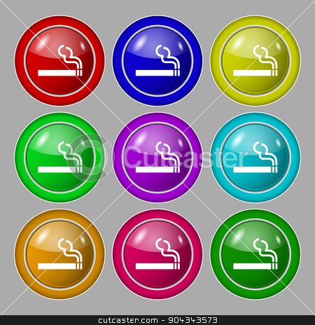 cigarette smoke icon sign. symbol on nine round colourful buttons. Vector stock vector clipart, cigarette smoke icon sign. symbol on nine round colourful buttons. Vector illustration by Serhii