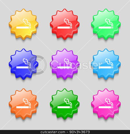 cigarette smoke icon sign. symbol on nine wavy colourful buttons. Vector stock vector clipart, cigarette smoke icon sign. symbol on nine wavy colourful buttons. Vector illustration by Serhii