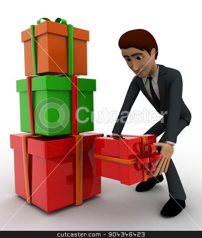 3d man with gift boxes concept stock photo, 3d man with gift boxes concept on white background, front angle view by 3dlabs