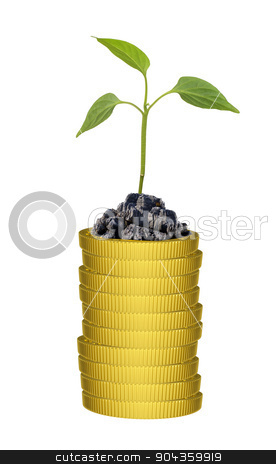 Green plant on gold coins stack stock photo, Green plant on gold coins stack on isolated white background by cherezoff