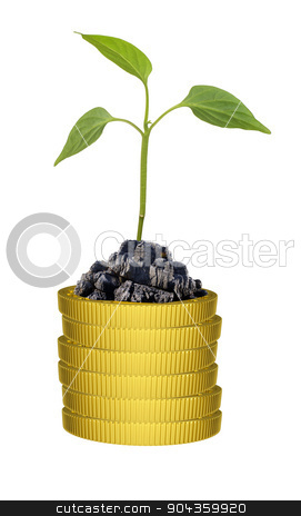 Green plant on coins stack stock photo, Green plant on gold coins stack on isolated white background by cherezoff