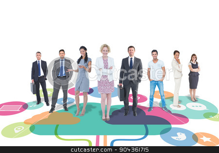 Composite image of business team stock photo, Business team against apps and cloud computing concept by Wavebreak Media