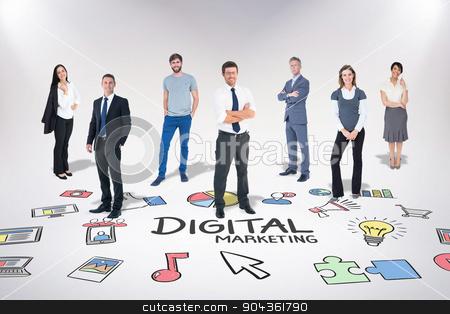 Composite image of business team stock photo, Business team against digital marketing by Wavebreak Media