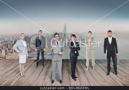 Composite image of business team stock photo, Business team against city projection on wall by Wavebreak Media