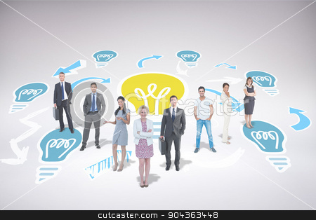 Composite image of business team stock photo, Business team against light bulb pattern by Wavebreak Media