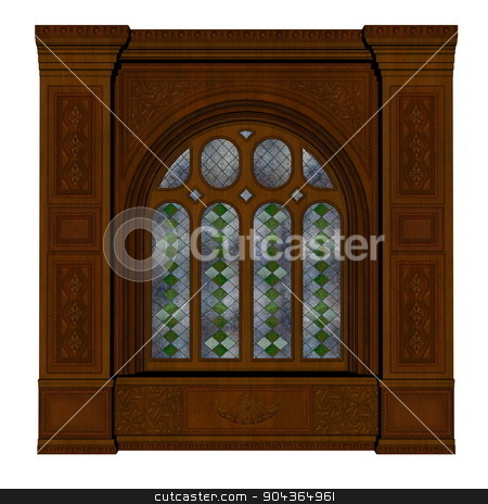 Castle window - 3D render stock photo, Brown castle window isolated in white background - 3D render by Elenarts