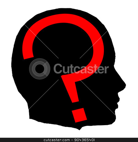 Question stock vector clipart, A black isolated man head with a red question mark by Kotto