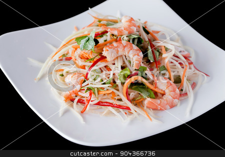 fresh shrimp salad recipes stock photo, fresh shrimp salad recipes - vietnamese style salad by Linh Tran