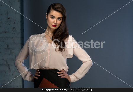 Portrait glamorous brown-haired business style girl stock photo, Portrait glamorous brown-haired business style girl dressed in a blouse and a leather skirt by bezikus