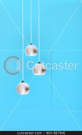 Blue negative collage of three ceiling lights, loft-style interi stock photo, Negative collage of three ceiling lights, loft-style interior. Blue color. by bezikus