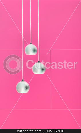 Pimk negative collage of three ceiling lights stock photo, Negative collage of three ceiling lights, loft-style interior. Pink color. by bezikus