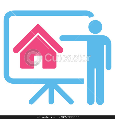 Realtor icon from Business Bicolor Set stock photo, Realtor icon from Business Bicolor Set. Glyph style is bicolor flat symbol, pink and blue colors, rounded angles, white background. by ahasoft