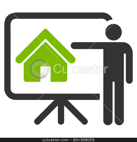 Realtor icon from Business Bicolor Set stock photo, Realtor icon from Business Bicolor Set. Glyph style is bicolor flat symbol, eco green and gray colors, rounded angles, white background. by ahasoft