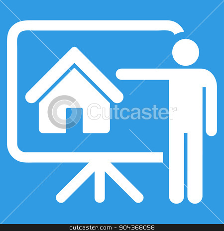 Realtor icon from Business Bicolor Set stock photo, Realtor icon from Business Bicolor Set. Glyph style is flat symbol, white color, rounded angles, blue background. by ahasoft