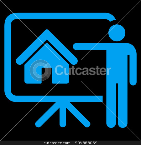 Realtor icon from Business Bicolor Set stock photo, Realtor icon from Business Bicolor Set. Glyph style is flat symbol, blue color, rounded angles, black background. by ahasoft