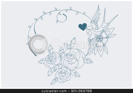 Love Theme Coloring Page Old School Tattoo Signs Stock Vector