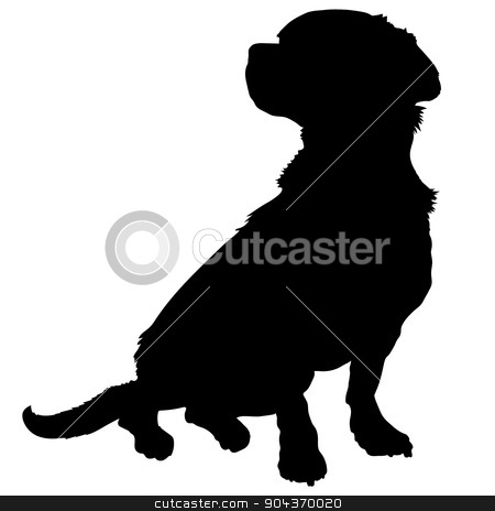Mixed Breed Silhouette stock vector clipart, A black silhouette of a sitting mixed breed dog by Maria Bell