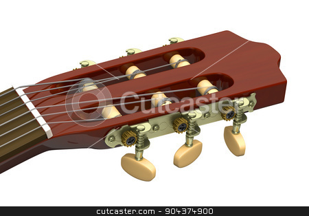 Classical Guitar Headstock Closeup stock photo, Classical Guitar Headstock Closeup on White Background by make