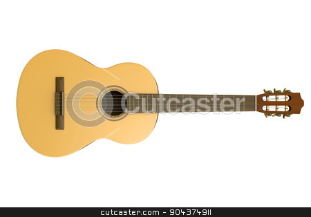 Classical Guitar Isolated stock photo, Classical Guitar Isolated on White Background 3D Photorealistic Illustration by make
