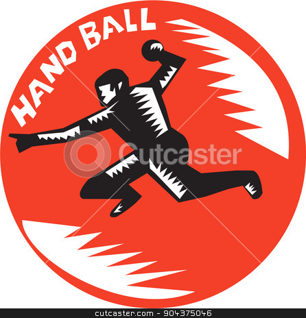 Handball Player Jump Striking Circle Woodcut stock vector clipart, Illustration of a handball player jumping striking throwing ball viewed from side set inside circle with the word Handball in the background done in retro woodcut style.  by patrimonio