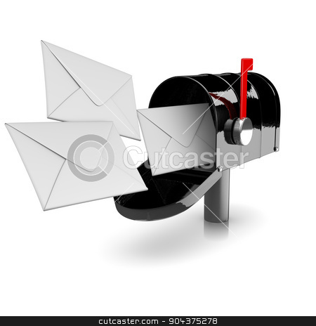 Mailbox stock photo, Black Mailbox on White Background 3D Illustration by make
