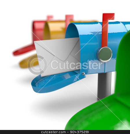 Finally Mail Arrived stock photo, Colorful Mail Boxes on White Background 3D Illustration by make