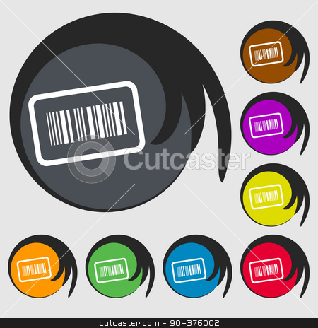 Barcode icon sign. Symbol on eight colored buttons. Vector stock vector clipart, Barcode icon sign. Symbol on eight colored buttons. Vector illustration by Serhii