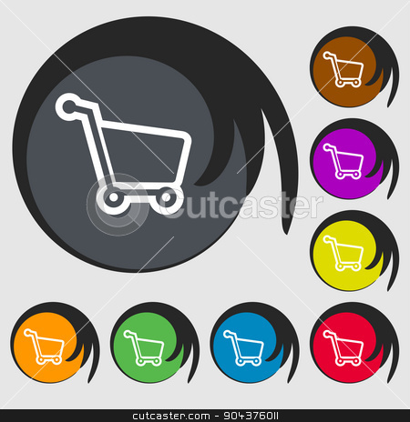 Shopping cart icon sign. Symbol on eight colored buttons. Vector stock vector clipart, Shopping cart icon sign. Symbol on eight colored buttons. Vector illustration by Serhii