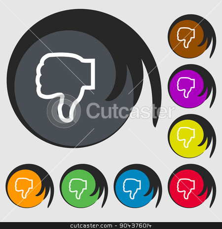 Dislike icon sign. Symbol on eight colored buttons. Vector stock vector clipart, Dislike icon sign. Symbol on eight colored buttons. Vector illustration by Serhii