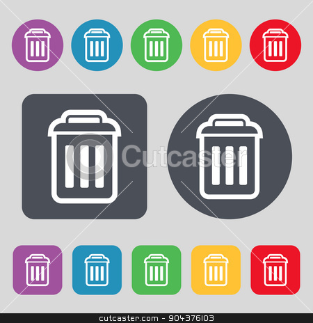 the trash icon sign. A set of 12 colored buttons. Flat design. Vector stock vector clipart, the trash icon sign. A set of 12 colored buttons. Flat design. Vector illustration by Serhii