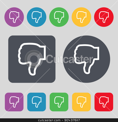 Dislike icon sign. A set of 12 colored buttons. Flat design. Vector stock vector clipart, Dislike icon sign. A set of 12 colored buttons. Flat design. Vector illustration by Serhii