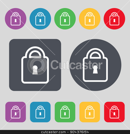 Lock icon sign. A set of 12 colored buttons. Flat design. Vector stock vector clipart, Lock icon sign. A set of 12 colored buttons. Flat design. Vector illustration by Serhii