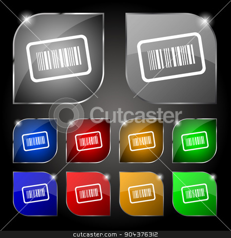 Barcode icon sign. Set of ten colorful buttons with glare. Vector stock vector clipart, Barcode icon sign. Set of ten colorful buttons with glare. Vector illustration by Serhii