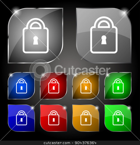 Lock icon sign. Set of ten colorful buttons with glare. Vector stock vector clipart, Lock icon sign. Set of ten colorful buttons with glare. Vector illustration by Serhii