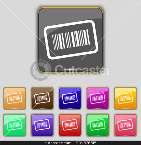 Barcode icon sign. Set with eleven colored buttons for your site. Vector stock vector clipart, Barcode icon sign. Set with eleven colored buttons for your site. Vector illustration by Serhii