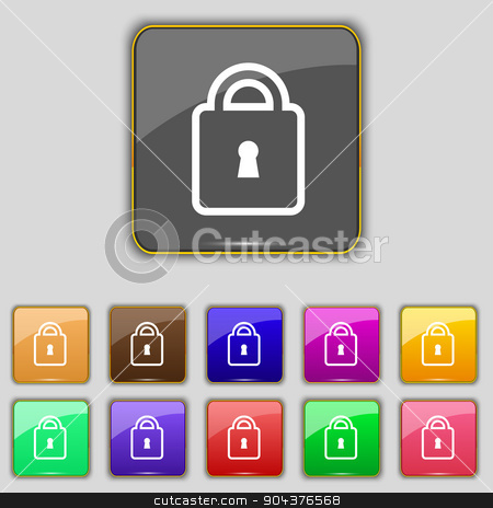 Lock icon sign. Set with eleven colored buttons for your site. Vector stock vector clipart, Lock icon sign. Set with eleven colored buttons for your site. Vector illustration by Serhii
